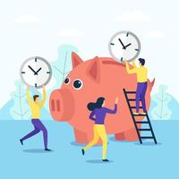 Save time in a piggy bank vector