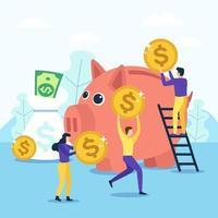 ahorrar dinero en una alcancía vector