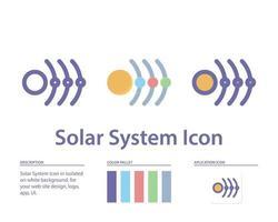 icono del sistema solar en aislado sobre fondo blanco. para el diseño de su sitio web, logotipo, aplicación, interfaz de usuario. Ilustración de gráficos vectoriales y trazo editable. eps 10. vector