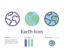 earth icon in isolated on white background. for your web site design, logo, app, UI. Vector graphics illustration and editable stroke. EPS 10.