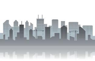 City Building Cityscape Skyline Business White Background Illustration vector