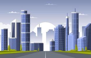 Street City Building Construction Cityscape Skyline Business Illustration vector