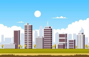 Sky City Building Construction Cityscape Skyline Business Illustration