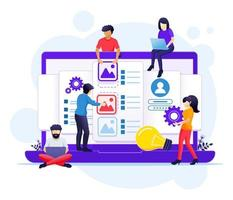 UI UX design concept, people creating an application design, content and text place illustration vector