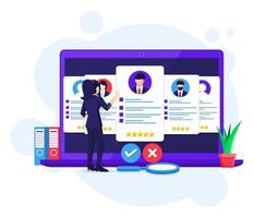 concepto de reclutamiento en línea, búsqueda de empresaria y elegir un candidato para el nuevo empleado, contratación, proceso de reclutamiento, ilustración vectorial vector