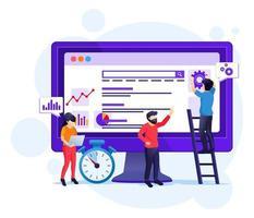 concepto de análisis de seo con personas que trabajan en la pantalla. optimización de motores de búsqueda, marketing y estrategias de ilustración. vector