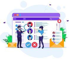 concepto de reclutamiento en línea, personas que buscan candidatos para un nuevo empleado, recursos humanos e ilustración del concepto de contratación vector