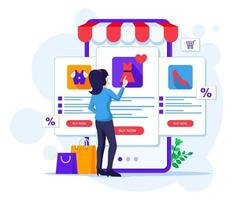 Online shopping concept, A woman chooses and buys products in the online mobile application store vector illustration