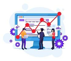 SEO Analysis concept with people work on screen. Search engine optimization, marketing and strategies illustration vector