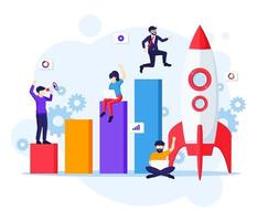 Business Startup concept, Businessman running to rocket and move up to their goal vector