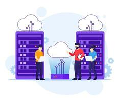 Cloud Computing concept, People working on laptop and server, Digital storage, data center vector
