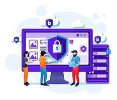 concepto de seguridad cibernética, las personas trabajan en la pantalla protegiendo los datos y la confidencialidad vector