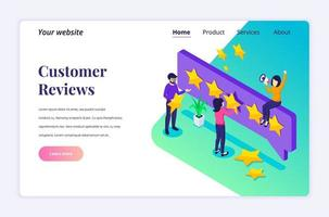 Isometric landing page design concept of Customer reviews concept, People giving five stars rating and review, positive feedback. Customer Service and User Experience. vector illustration