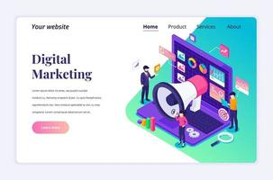 Isometric landing page design concept of Digital marketing, business people characters work near a giant laptop with data and graphic charts. vector illustration