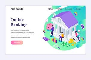 Modern flat isometric design concept of Online Banking with characters. Online financial investment for website and mobile website. Landing page template. vector illustration