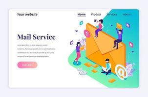 Concepto de diseño de página de destino isométrica de marketing por correo electrónico, servicios de correo con personajes. ilustración vectorial vector
