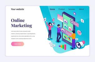 Isometric landing page design concept of Digital marketing, people characters work near a giant smartphone and content text place. vector illustration