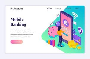 Modern flat isometric design concept of Online Banking with characters. electronic mobile payment for website and mobile website. Landing page template. vector illustration