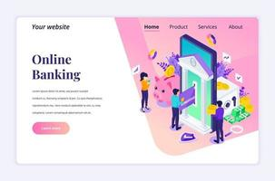 Modern flat isometric design concept of Online Banking with characters. electronic payment for website and mobile website. Landing page template. vector illustration