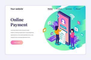 moderno concepto de diseño plano isométrico de pago en línea, transferencia de dinero con personajes para sitio web y sitio web móvil. plantilla de página de destino. ilustración vectorial vector