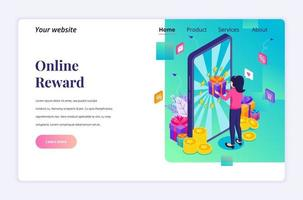 Isometric landing page design concept of Online reward. A woman receive a gift box from Online loyalty program and bonus. vector illustration