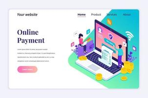 Modern flat isometric design concept of Online Payment, money transfer with characters for website and mobile website. Landing page template. vector illustration