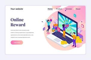 Isometric landing page design concept of Online reward. A group of happy people receive a gift box from Online loyalty program. vector illustration