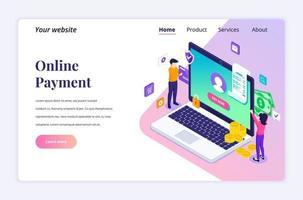 Modern flat isometric design concept of Online Payment, money transfer. People are making an online transaction for website and mobile website. Landing page template. vector illustration