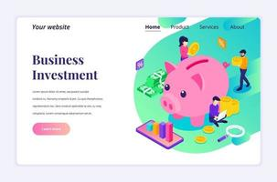 Isometric landing page design concept of Investment, People putting coin money into a piggy bank, money saving. vector illustration