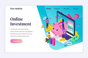 Isometric landing page design concept of Business Investment. People putting coin money into a piggy bank, profit income with financial graph and chart. vector illustration