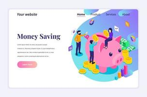 Isometric landing page design concept of Investment. People putting coin money into a piggy bank, money saving. vector illustration