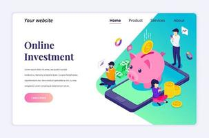 Isometric landing page design concept of Online Investment. people are investing money online for growth profit income near giant mobile phone. vector illustration