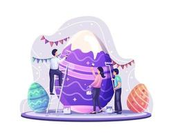 People celebrate Easter day by decorating and painting giant easter eggs vector