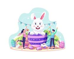 Happy Easter day celebration with a couple welcoming cute rabbit coming out egg easter vector