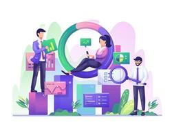 Data Analysis concept with character people works with charts and graphic data visualization illustration vector