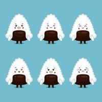 lindo personaje de sushi con varias expresiones vector