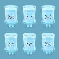 lindo personaje de vaso de agua con expresiones vector