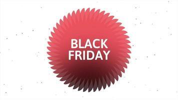 texto de introdução de animação black friday sobre fundo de moda e minimalismo branco com círculo vermelho geométrico