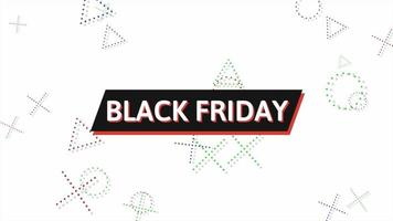 Animation text Black Friday and motion abstract geometric shapes, Memphis background video