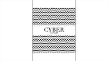 animação intro texto cyber segunda-feira sobre moda branca e fundo minimalista com ondas pretas geométricas
