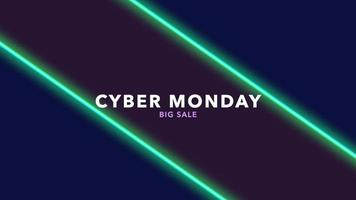 animação de introdução de texto cibernética segunda-feira sobre moda e plano de fundo do clube com linhas verdes brilhantes