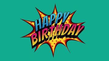 closeup animado texto de feliz aniversário com bombas no fundo do feriado video