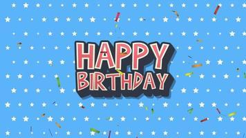 closeup animado texto de feliz aniversário no fundo do feriado video