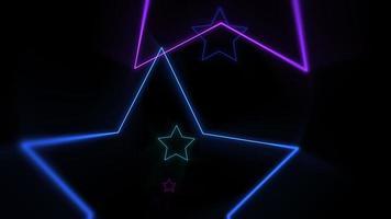 movimento estrelas de néon coloridas, fundo abstrato