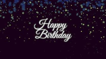closeup animado texto de feliz aniversário com confete no fundo do feriado video