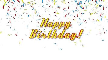 Animated closeup Happy Birthday text on holiday background video