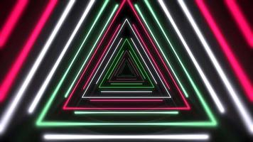 Motion colorful neon triangles, abstract background video