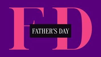 animação de texto do dia dos pais sobre fundo roxo de moda e minimalismo