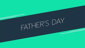 animação texto dia dos pais sobre fundo verde moda e minimalismo com linhas geométricas