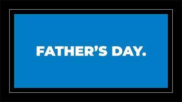 animação texto dia dos pais em fundo preto de moda e minimalismo com moldura azul geométrica